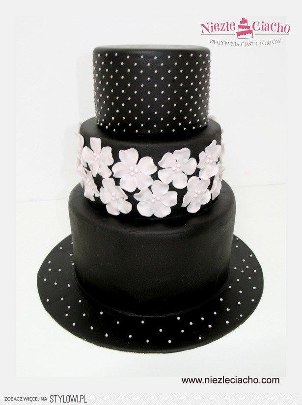 Czarno-biały tort weselny, czarny tort weselny, tort we ...
