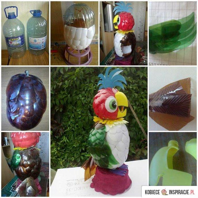 Попугай из пластиковых бутылок как сделать
