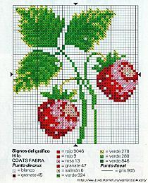 вышивка ягоды крестиком маленькие коллектором: схема