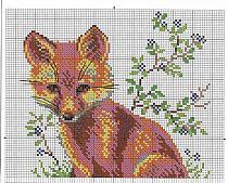 Схема вышивки крестиком лисы 101
