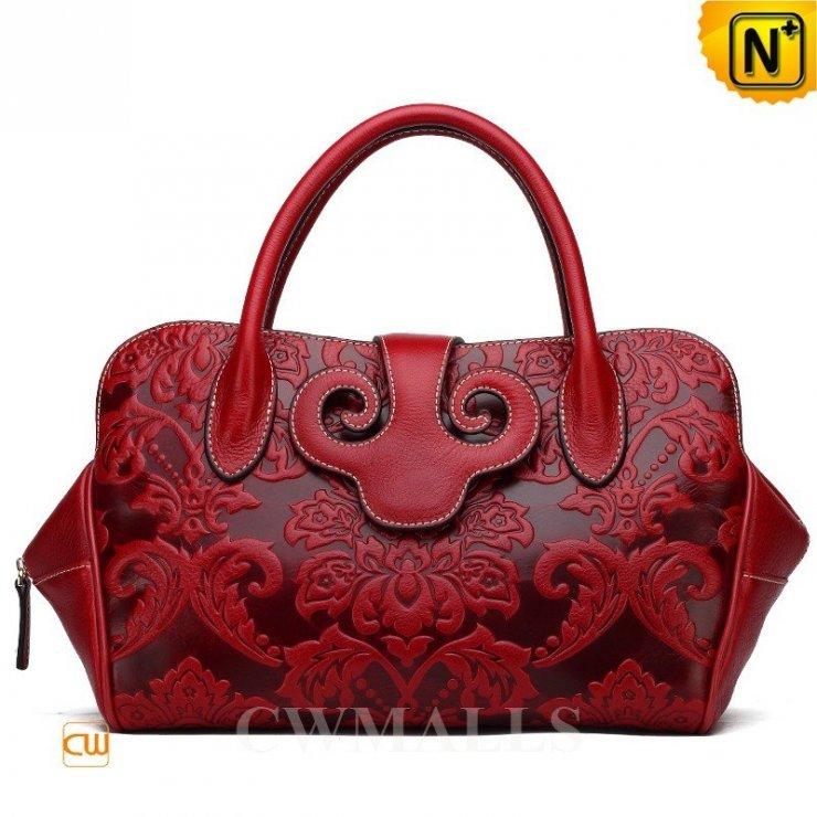 44e66b09e4 Red Embossed Leather Handbag CW251166 - cwmalls.com Cwm… na Stylowi.pl