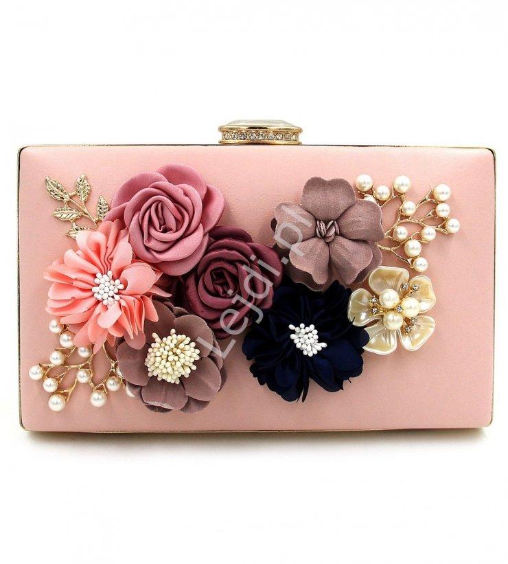 366bee738ec9a Wyjątkowa torebka wieczorowa z kwiatami 3D w kolorze pu… na Stylowi.pl