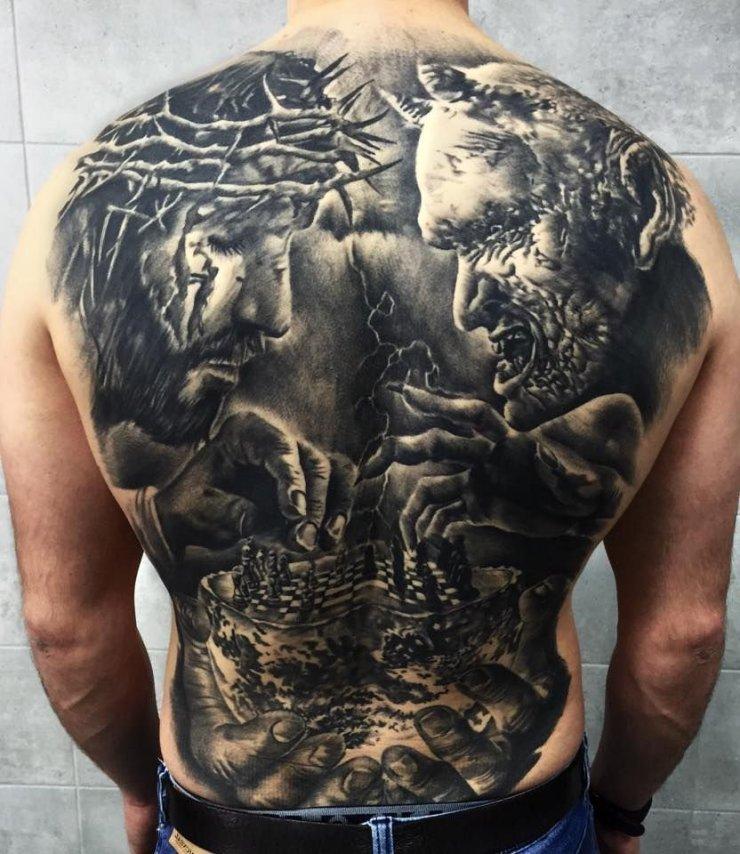 Jezus I Diabeł Tatuaże Na Plecach Na Stylowipl