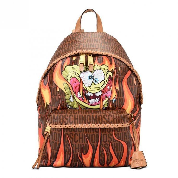 972a938da66 Moschino Flaming Spongebob Womens Leather Backpack Coff… na Stylowi.pl