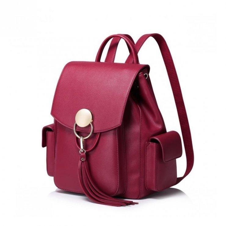 80936ec26b312 NUCELLE Stylowy plecak z frędzlami Czerwony czerwony sk… na Stylowi.pl