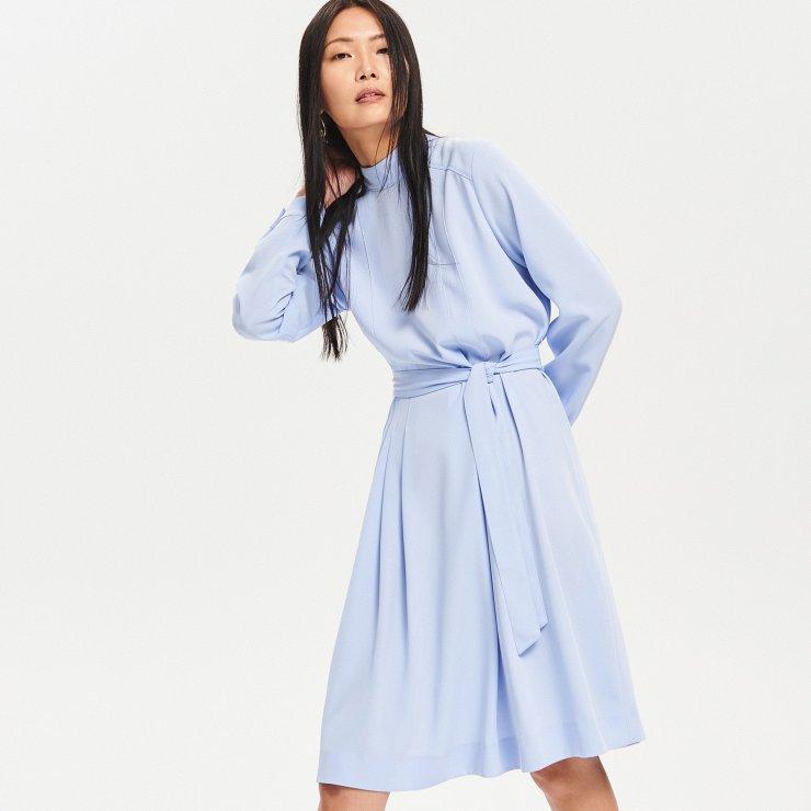 c4eafeb3 Reserved - Elegancka sukienka ze stójką - Niebieski Ele… na Stylowi.pl