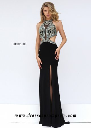 60f7ef1efff Cheap Sherri Hill 50383 Beaded Cut Out Illusion Evening… na Stylowi.pl