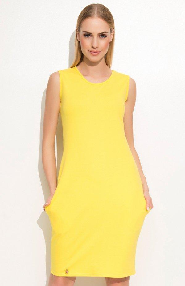 e6cd623fd8 Makadamia M361 sukienka żółta Nietuzinkowa sukienka