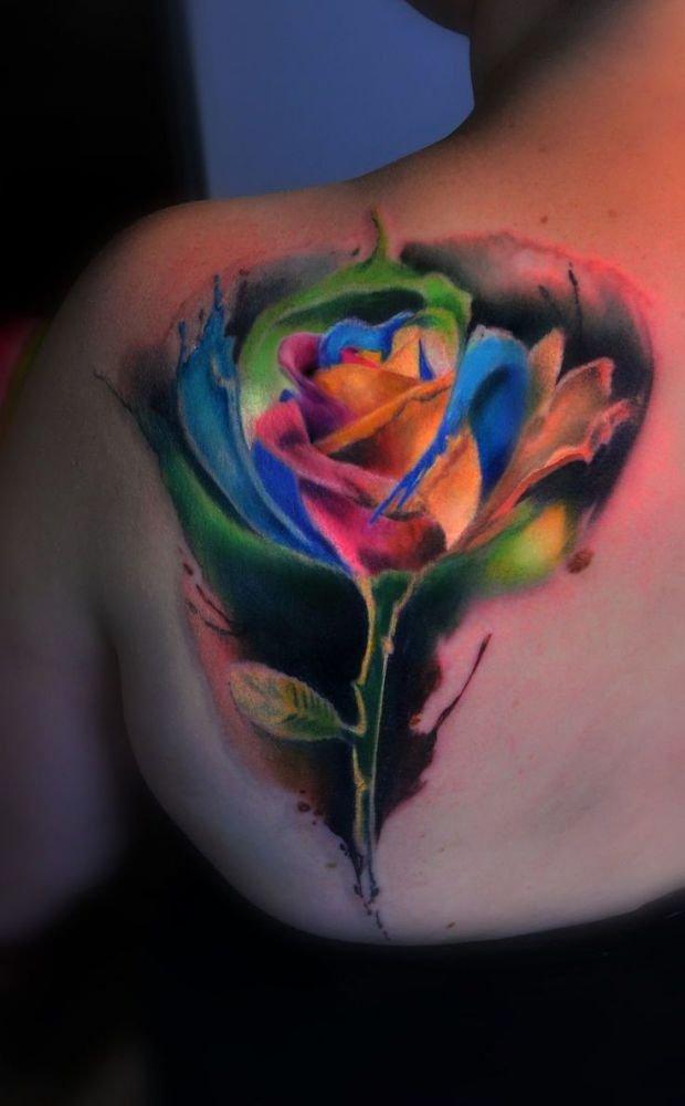 Kolorowa Róża Piękny Tatuaż Na Stylowipl
