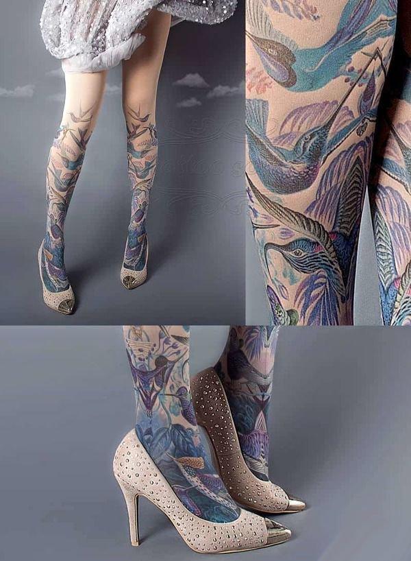Koliber Tatuaże Ptaki Na Nogach Na Stylowipl