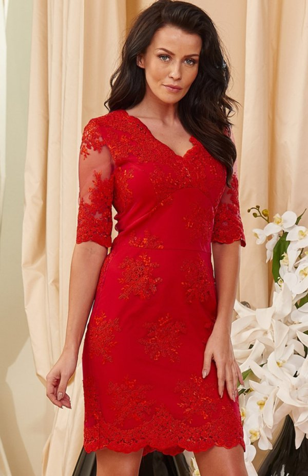 211dfe96e7 Roco 0153 sukienka czerwona Koronkowa sukienka