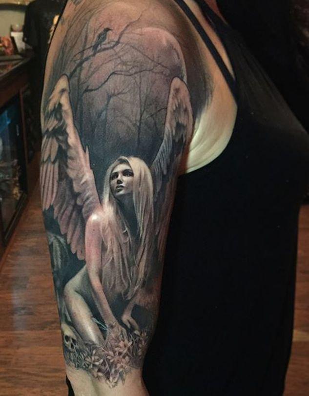Anioł Tatuaż Na Ramieniu Kobieta Blondynka Na Stylowipl