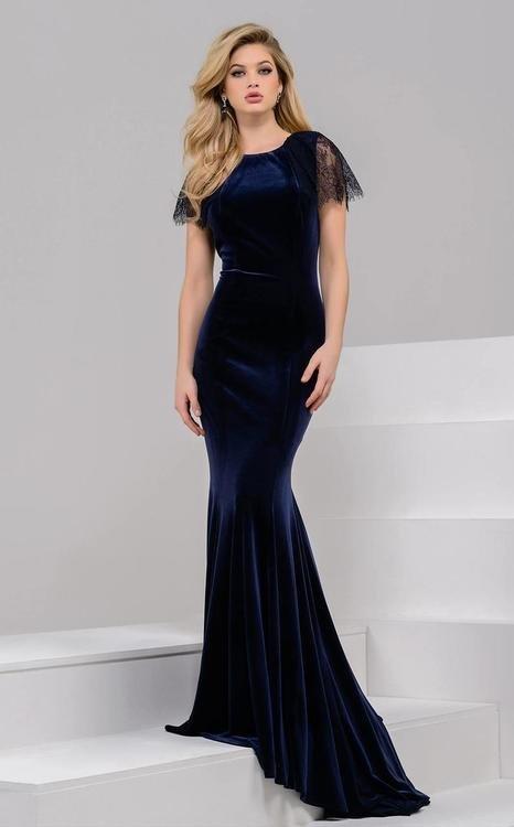 68cdffd3304 Jovani 50340 Lace Embellished Velvet Dress na Stylowi.pl