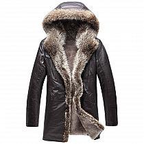 a00c470d48f48 Men Fur Coat   CWMALLS® Edmonton 2 in 1 Wolf Fur Lined… na Stylowi.pl