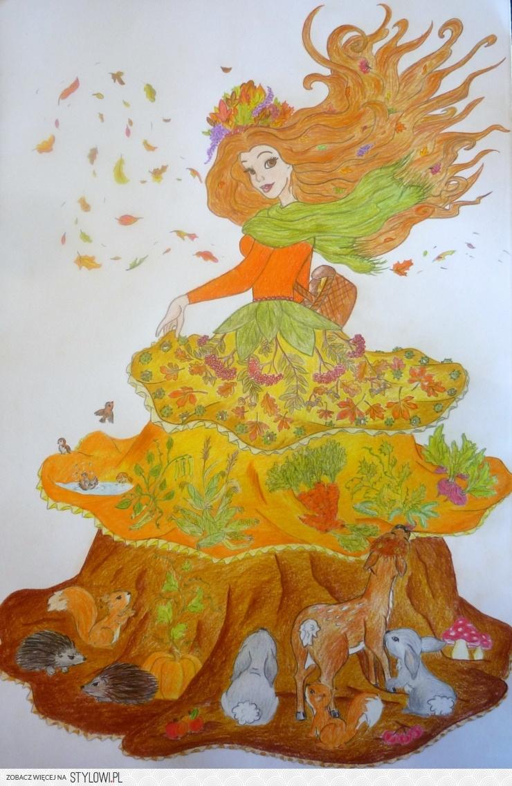 Pani Jesień Do Dziecinnego Pokoju Bądź Szkolnej Sali Na Stylowi Pl
