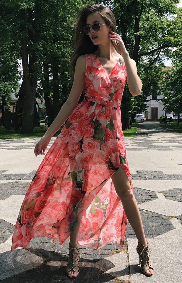 Kopertowa sukienka maxi w kwiaty 209D33 Roco Fashion… na