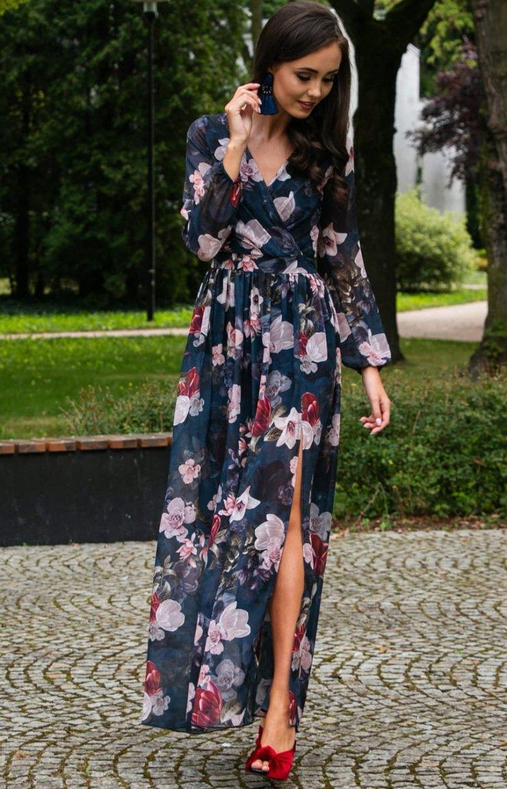 Długa sukienka w kwiaty Roco 0219D44 Sukienki Maxi … na