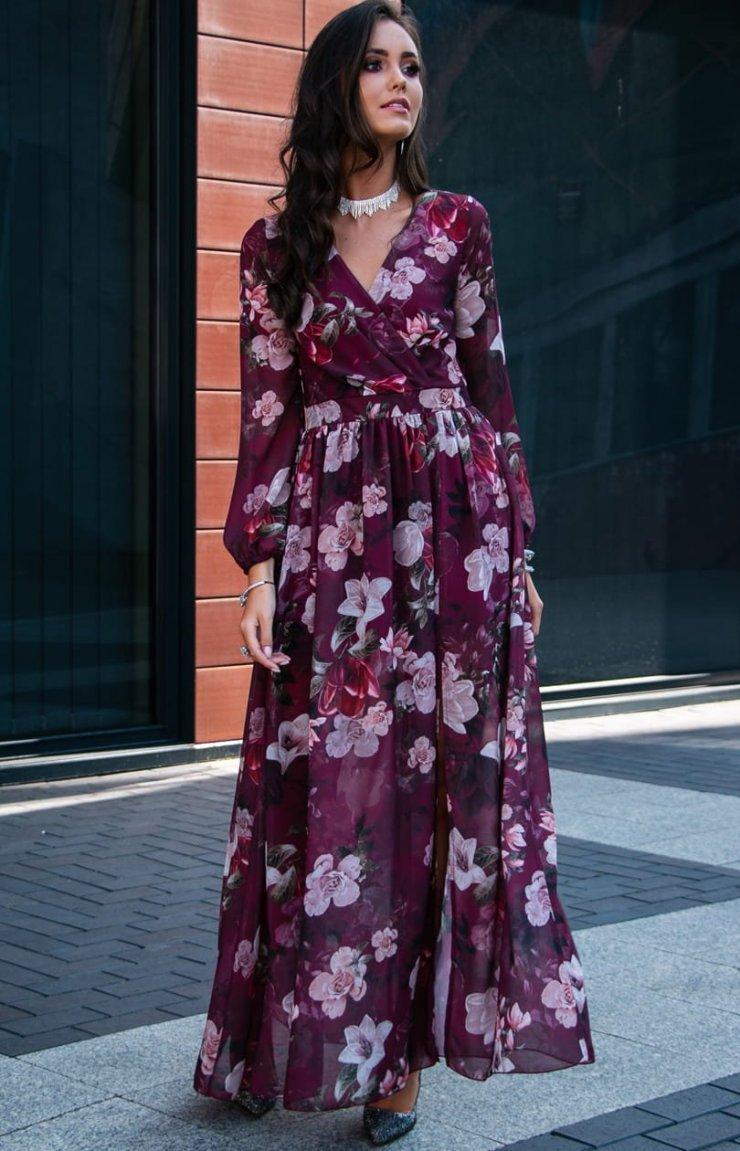 Długa sukienka w kwiaty Roco 0219D50 w dklepie Iblis.p… na