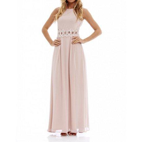 Długa, szyfonowa sukienka na wesele z koronką w talii w… na